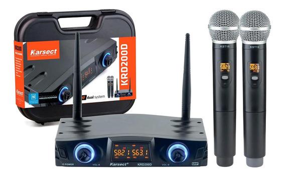 Microfone Sem Fio Karsect Krd200dm Duplo De Mão