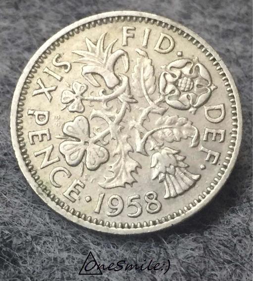 Onesmile:) Moneda De Reino Unido Six Pence 1958