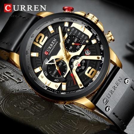 Relógio Curren - Preto & Dourado - Original Ultra Elegante
