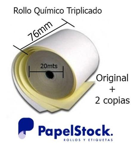 60 Rollos De Papel Fiscales Quimico Triplicado 76x20 3 Hojas