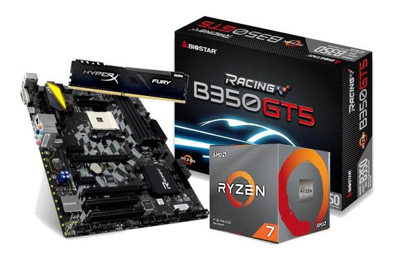 Kit Processador Amd Ryzen 7 3700x Biostar B350gt5 Am4 Hx 8gb