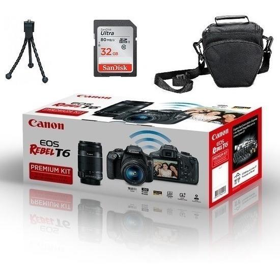 Canon T6 Premium 18-55mm 55-250mm 32gb Bolsa Tripe Nova