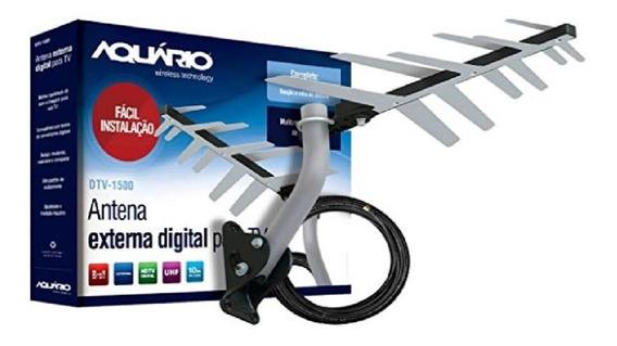 Antena Externa Digital Para Tv 2 Em 1 Completa - Aquario