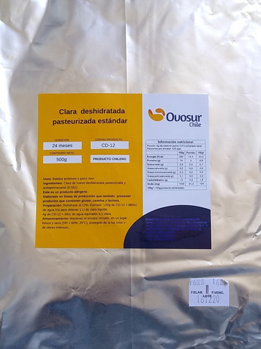 Albúmina - Claras Deshidratadas Pasteurizadas