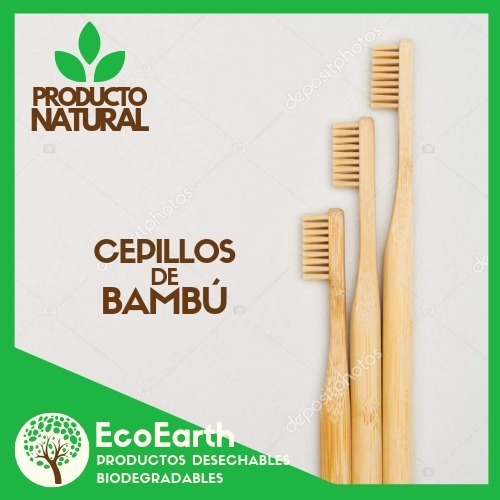 10 Pzs Cepillos De Bambú, (diversos Colores)