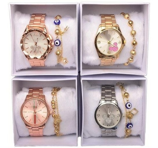 Kit Exclusivo 5 Unidades Relógios Feminino + Caixa Revenda