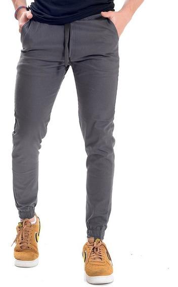 Pantalón Jogger Gabardina Stretch Hombre Color Gris Oscuro