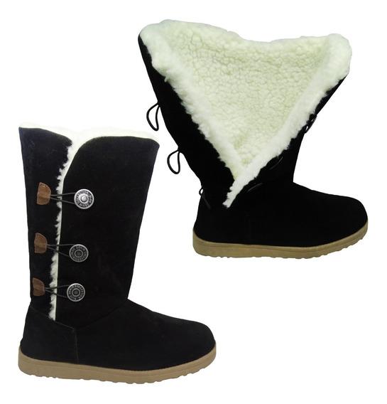 Bota Feminina Para Neve Forrada Com Lã Botões Tipo Ugg