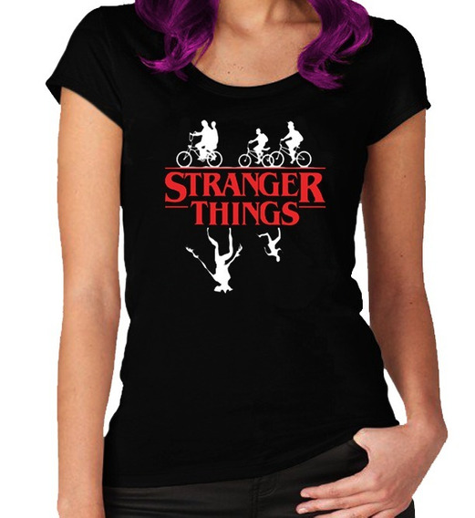 Remera Stranger Things Para Mujer Tela 100% Algodón