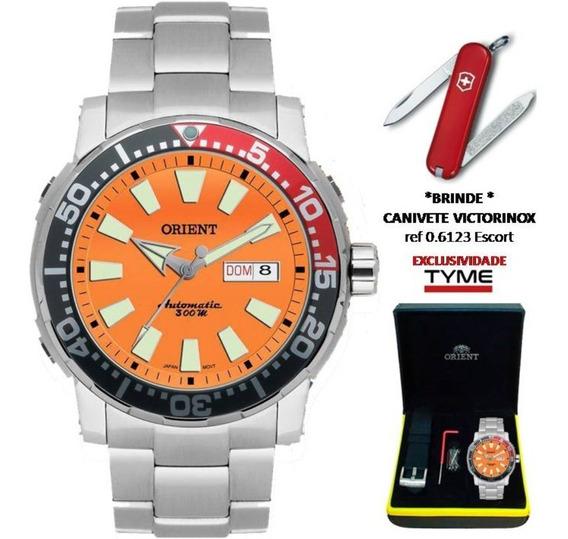Relógio Orient Poseidon Diver Automático 469ss039 O1sx Laranja + Brinde C/ Nfe