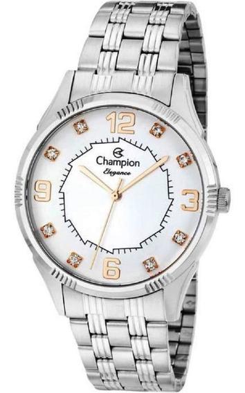 Relógio Feminino Champion Prata Números Rose Cn25814q
