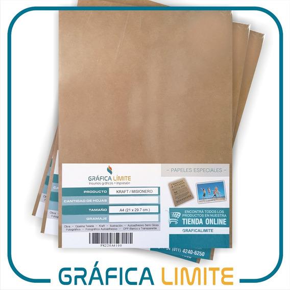 Papel Kraft Misionero A4 Inkjet Laser Madera 80gr Resma X100