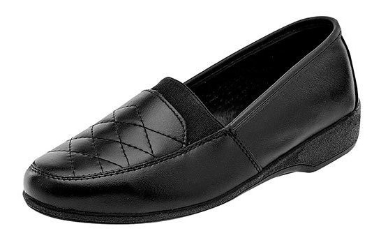 Zapato Piso Piel Florenza Dama Negro Textura D49219 Udt