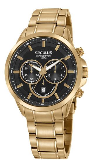Relógio Seculus Masculino Dourado 20617gpsvda1