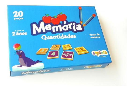 Jogo Educativo Educativo Memória Quantidades 20 Pçs Mdf 6mm