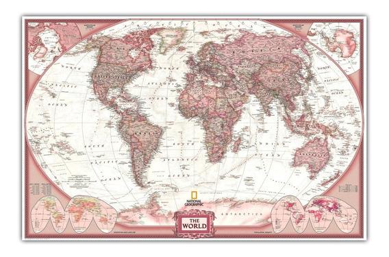 Mapa Mundial Para Decorar Sala - 65x100cm - - Com Etiquetas