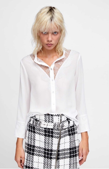 Camisa Combinada Encaje - Zara