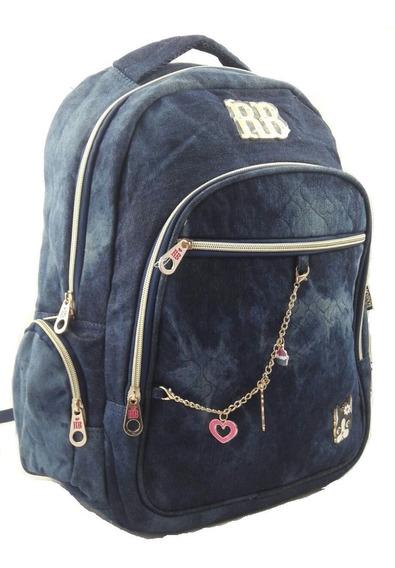 Kit Mochila Rb Jeans Escolar Notebook Preta Rb 8227