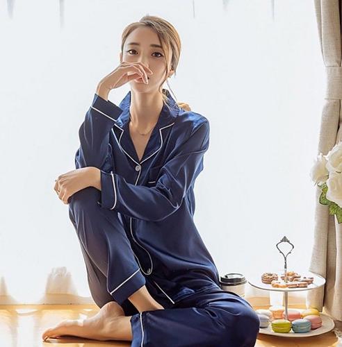 Pijama Set Manga Larga Pantalon Mujer Homewear Nightwear Azu