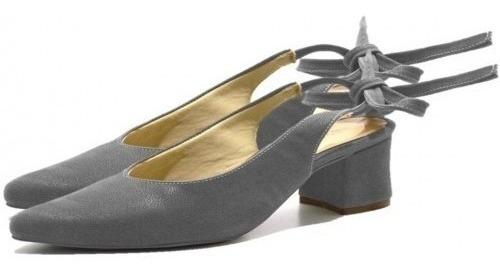 Sapato Scarpin Salto Grosso Baixo De Amarrar Em Camurça