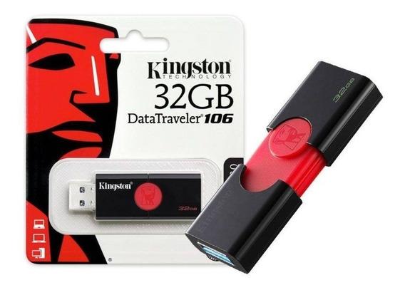 Pendrive 32gb Kingston Datatraveler 106 Dt106/32gb Usb 3.0 Desempenho Rápido Usb 3.1 Ger1 Garante Rapida Transferencia