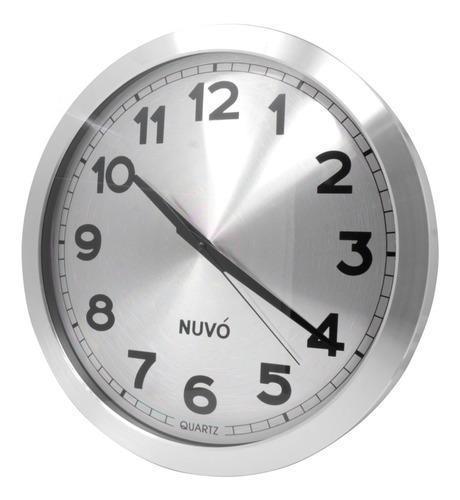 Imagen 1 de 6 de Reloj De Pared  Moderno Analogo Plateado Gigante 40 Cm