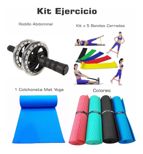 Kit Bandas Cerradas X5+rodillo Abdominal+colchoneta Yoga