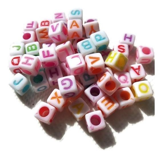 250 Gramos Letras Cubos Colores Pastel Brillante Pulseras