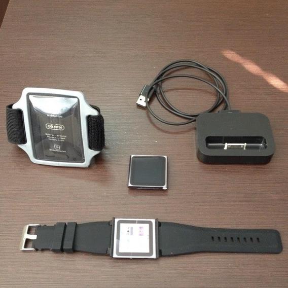 iPod Nano 6 Geração(c/ Pulseira De Relógio E Case De Braço)