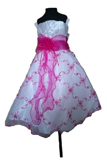 Vestido Infantil Festa Florista Branco Bordado C/pink
