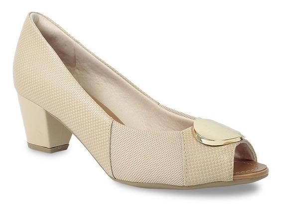 Sapato Peep Toe Usaflex Feminino Croco Joanete Aa2604