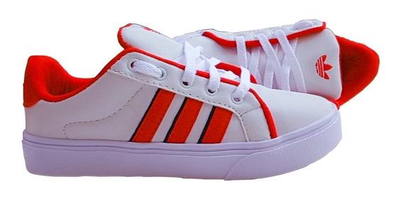 Tênis Feminino Branco Faixa Vermelha Adid