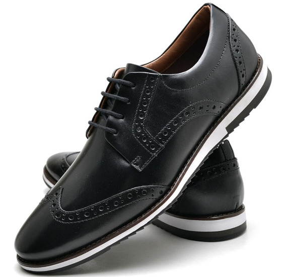 Sapato Casual Nevano Oxford Floral Preto Solado Costurado