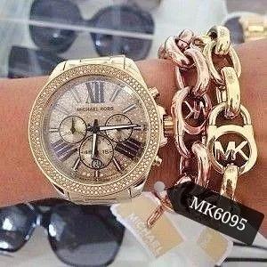 Relógio Feminino Mk6095 Dourado Ouro 18k Aço In