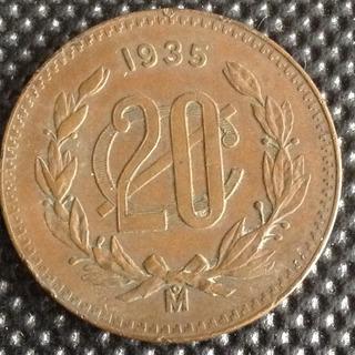 Moneda 1935 De 20 Centavos Bronce