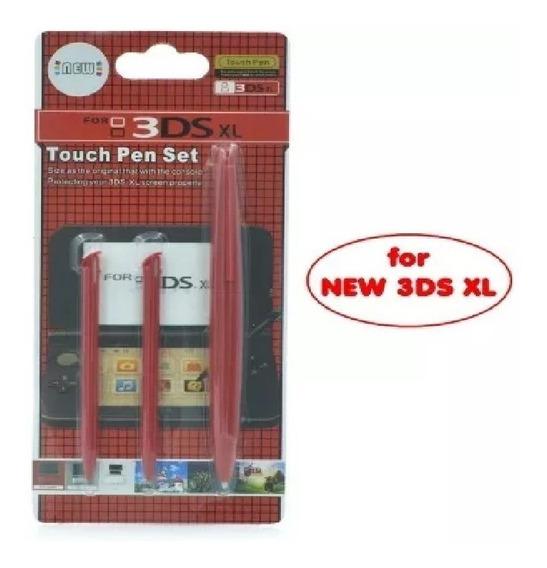 3 Canetas Stylus Nintendo New 3ds Xl Vermelho Mario Kart