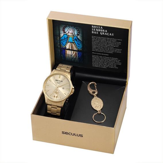 Relógio Masculino Seculus Dourado Kit 35028gpskda1k1 C/ Nfe