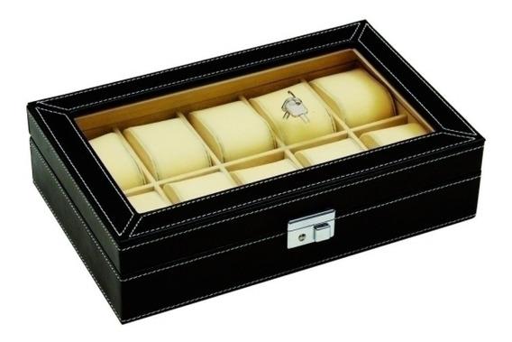 Caixa Porta Relógios De Couro Sintético Preto 32cm
