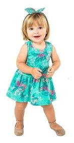 Vestido Floral Verde Bebê