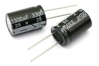 2 Unidades De Condensadores Electrolítico 3300uf, 25v 100 ºc