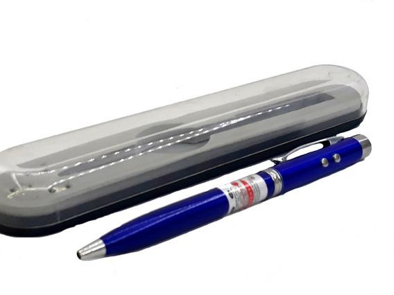 Caneta Laser Pointer, Led Branco, Com Estojo - Azul