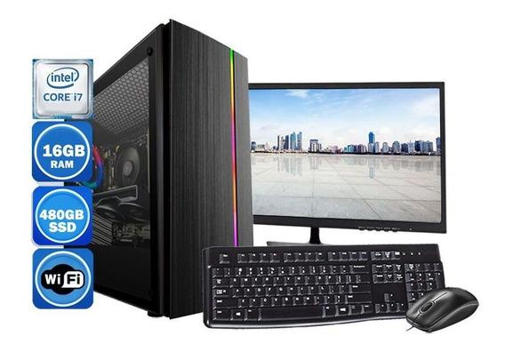 Computador Pc Completo Intel Core I7 16gb Ssd 480gb Wi-fi