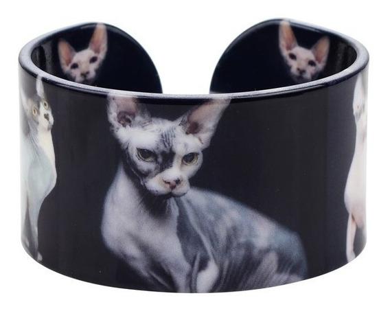Pulsera Acrilico Diseño Gato, Color Negro.