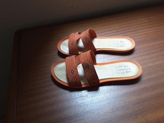 Sandalias Stitching Talle 36 Naranjas Brillos