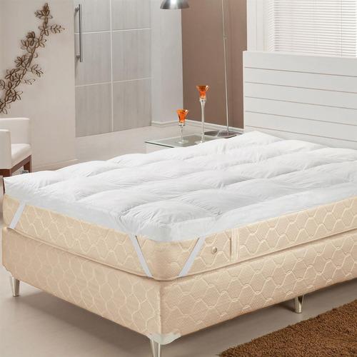 Pillow Top Tam King Fibras Siliconizadas Branco Plumasul
