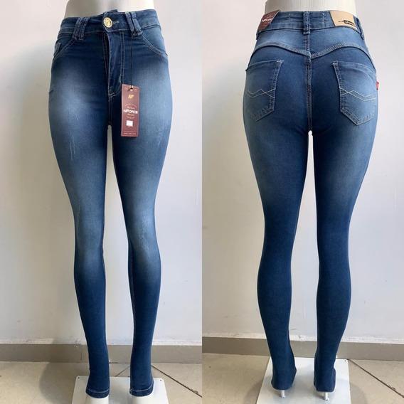 Calça Jeans Feminina Lycra Alta Levanta Bum Bum Calças Femin