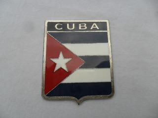 Escudo Bandera Cuba Auto Para Auto Antiguo Metalica Insignia