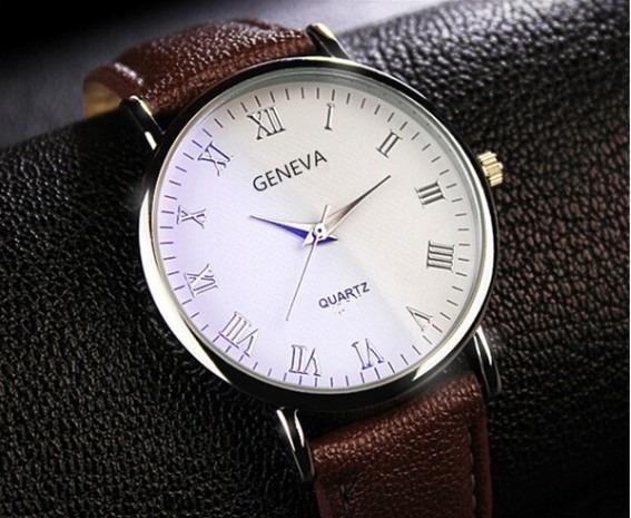 Relógio Luxo Masculino Geneva Pulso Social Pulseira Marrom