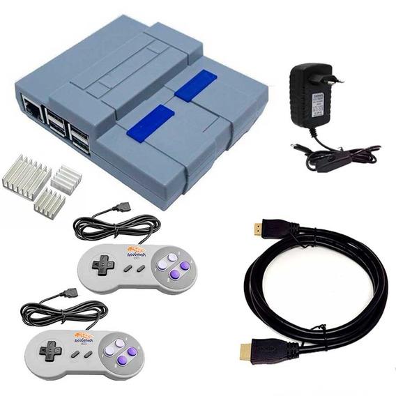Super Nintendo Raspberry Snes 9000 Jogos 2 Controle S Snes