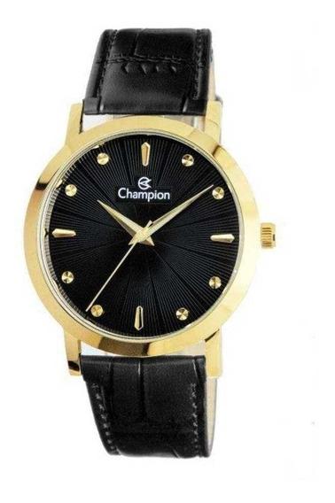 Relógio Feminino Champion Dourado Couro Preto Cn20622p + Nf